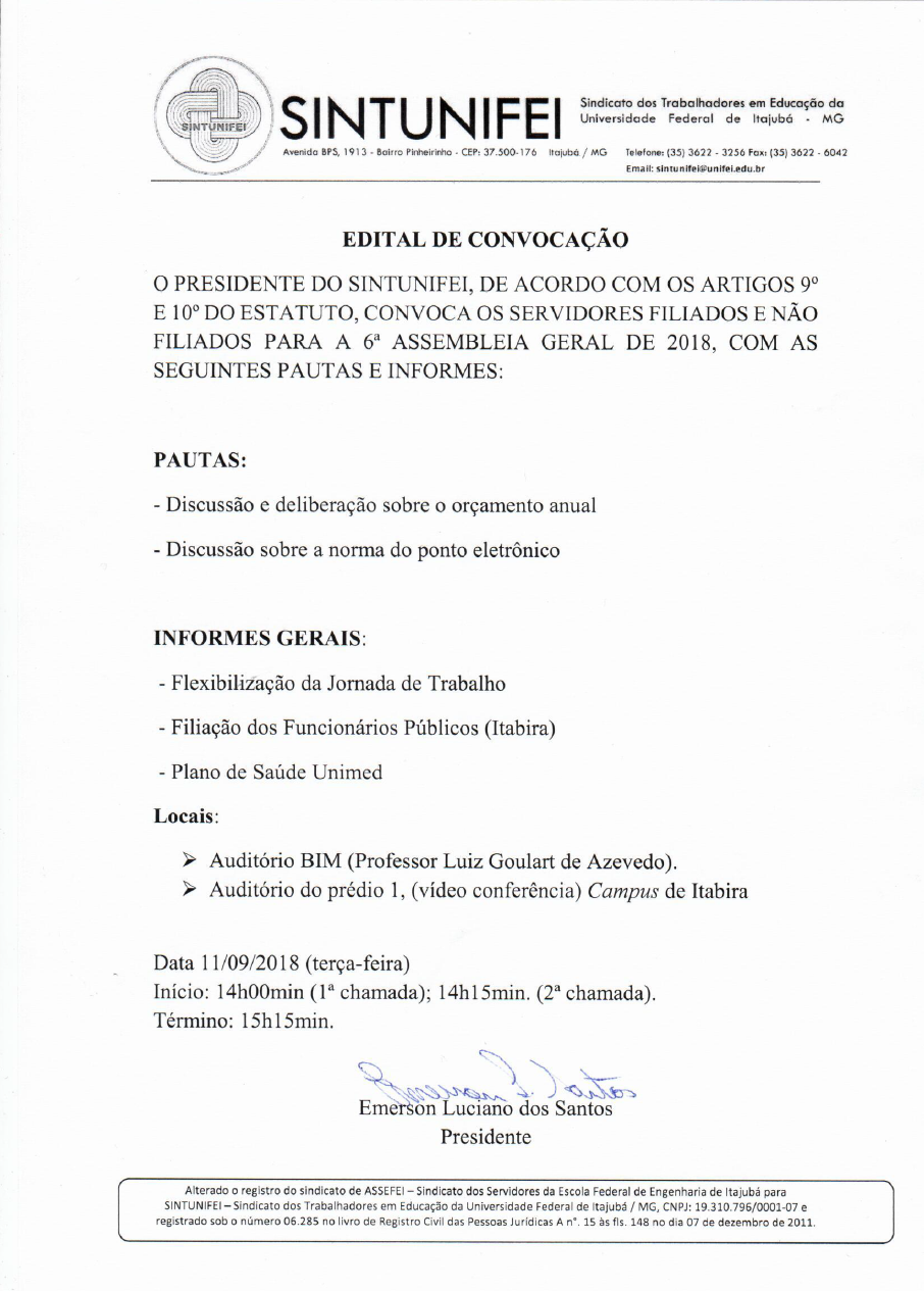 Edital da 6ª Assembleia Geral - SINTUNIFEI