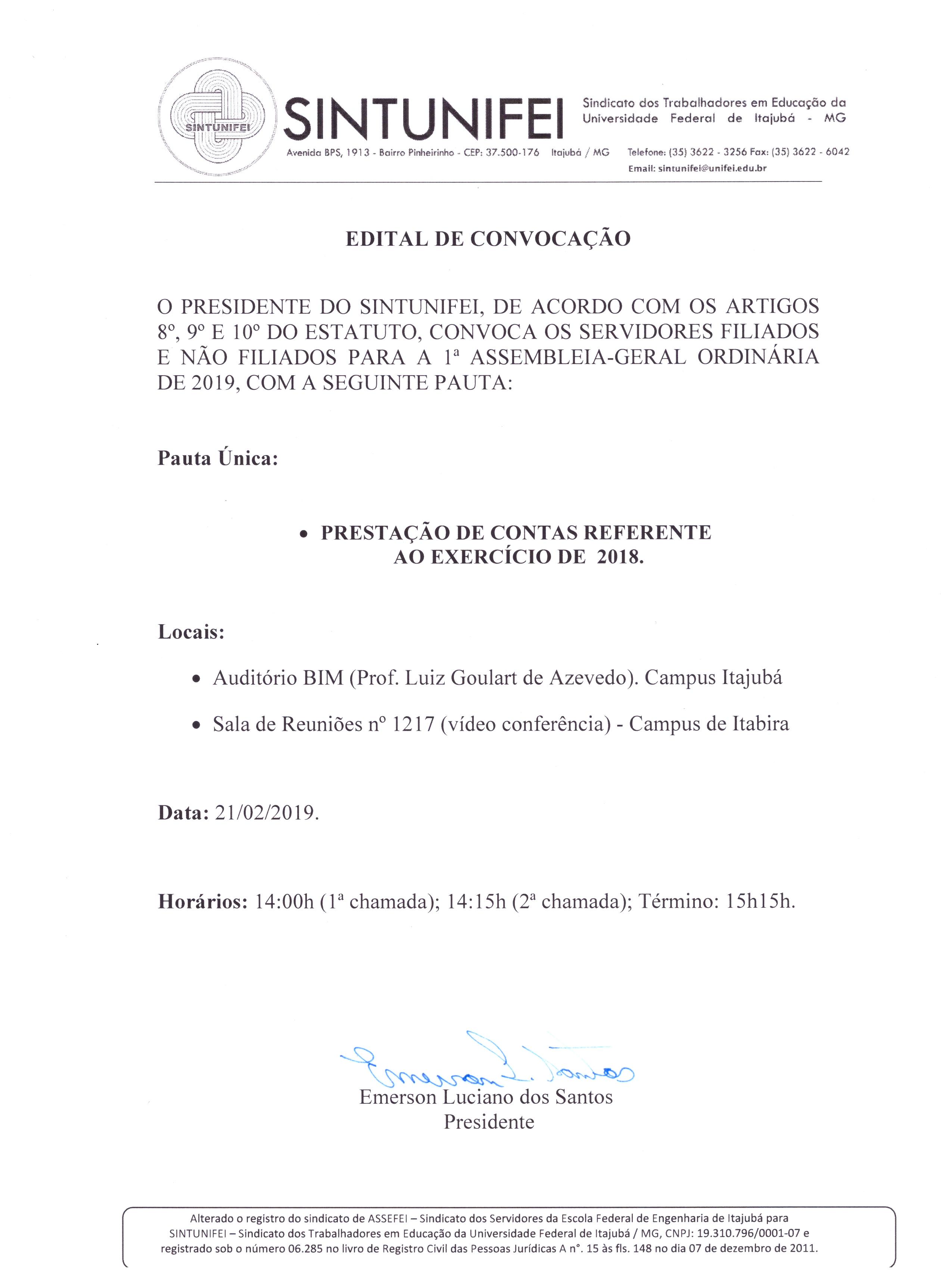 Edital da 1ª Assembleia Geral Ordinária de 2019- SINTUNIFEI