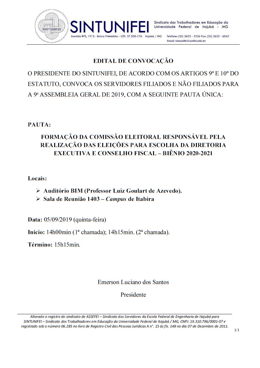 Edital da 9ª Assembleia Geral de 2019- SINTUNIFEI