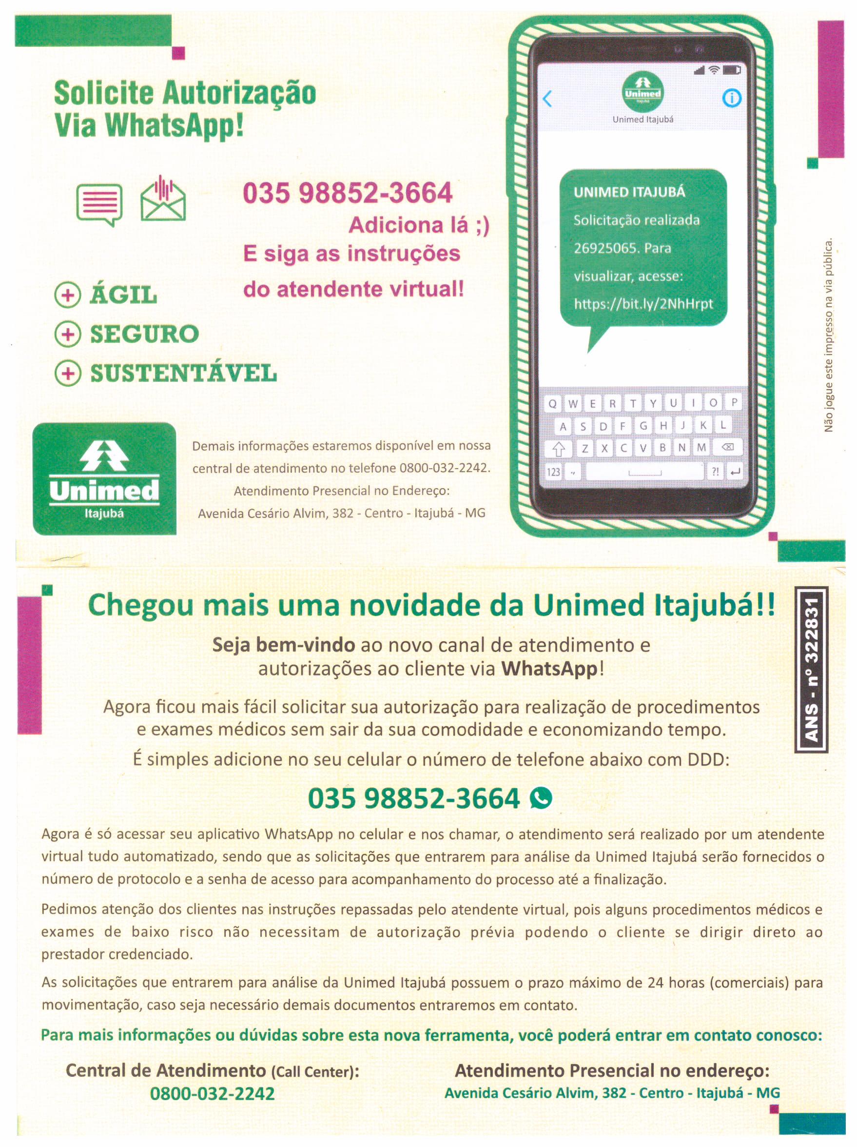 Autorização Unimed via WhatsApp